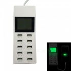 65W 100~240V 10-Port USB 10.2A LCD Smart USB Charging Socket, US Plug