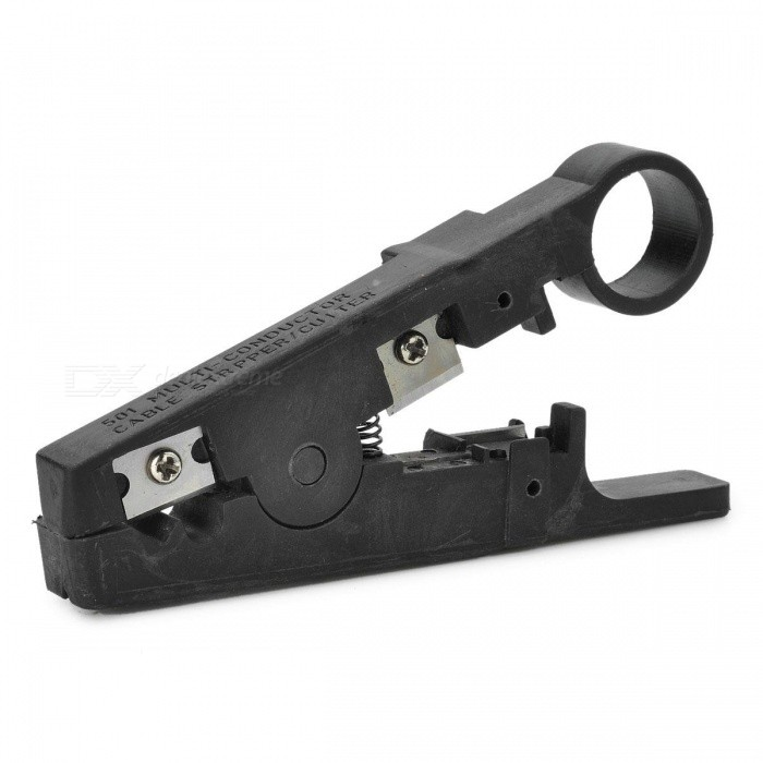 NITEO Multi-Function Rotary Coax Wire Cable Cutter / Stripper ToolOther Tools<br>Form  ColorBlackQuantity1 DX.PCM.Model.AttributeModel.UnitMaterialPA66 + Stainless steelOther FeaturesSuitable for different cable wire modulePacking List1 X Cable Stripper<br>