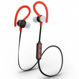 JEDX Wireless Stereo Bluetooth Ear Hook Headset w/ Mic - Black + Red