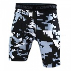 Outdoor Men's Sports Fitness Camouflage Shorts - Grey + Black (XXXL)