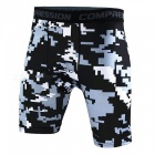 Outdoor Men's Sports Fitness Camouflage Shorts - Grey + Black (XXL)