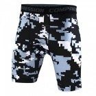 Outdoor Men's Sports Fitness Camouflage Shorts - Grey + Black (L)