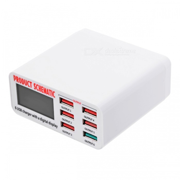BSTUO 5V 8A 6-Port USB Charger w/ QC3.0 Port - White (AC 100-240V)