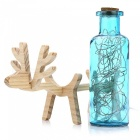 YouOKLight Creative Handmade Glass Bottle Wood Deer Night Light - Blue