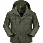 Jeep Rich Men's Casual Polyester Loose Coat Jacket - Army Green (XXL)