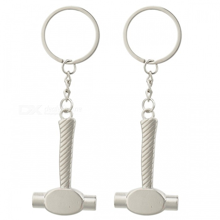 Mini Metal Hammer Style Key Chains for Outdoor Sports - White + Silver