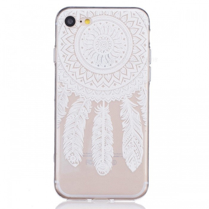 White Campanula Pattern TPU Protective Case for IPHONE 7 - Transparent