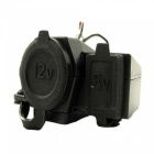 XSC Waterproof USB Charger w/ Cigarette Lighter for Motorcycle - Black