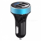 3-Port USB Car Charger w/ LCD Digital Display for Mobile Phone - Blue