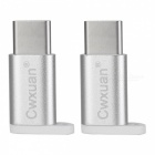 Cwxuan USB Type-C Male to Micro USB Female Adapter - Silver (2 PCS)