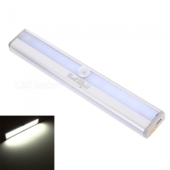 YouOKLight Motion Sensing 10-LED Cold White Light Night Lamp - Silver