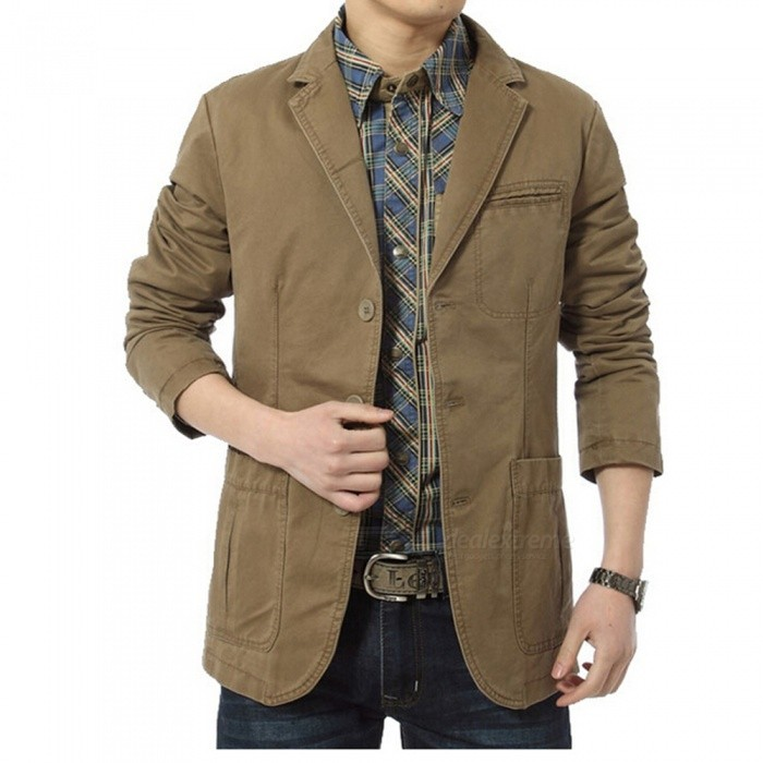 Jeep Rich Multi-functional Men's Suit Collar Jacket - Khaki (XXXL)