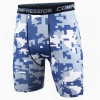 Outdoor Men's Sports Fitness Camouflage Shorts - Blue + White (L)