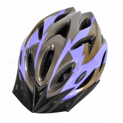 18 Vents PC + EPS Bicycle Helmet w/ Visor for Cycling - Purple + Gray