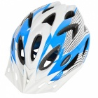 18 Vents PC + EPS Bicycle Helmet w/ Visor for Cycling- Blue + White