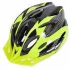 18 Vents PC + EPS Bicycle Helmet w/ Visor for Cycling- Green + Black