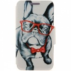 SZKINSTON HD Glass Dog Pattern PU Case for HUAWEI P9 PLUS - Black