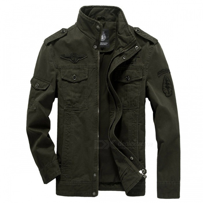 Mens Military Army Causal Jacket Coat - Army Green (L)Jackets and Coats<br>Form  ColorArmy GreenSizeLQuantity1 DX.PCM.Model.AttributeModel.UnitShade Of ColorGreenMaterialPolyester, CottonStyleCasualTop FlyZipperShoulder Width45.5 DX.PCM.Model.AttributeModel.UnitChest Girth106 DX.PCM.Model.AttributeModel.UnitSleeve Length60 DX.PCM.Model.AttributeModel.UnitTotal Length68 DX.PCM.Model.AttributeModel.UnitSuitable for Height170~175 DX.PCM.Model.AttributeModel.UnitPacking List1 x Coat<br>