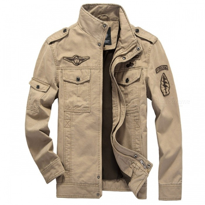 Military Army Soldier Air Force Mens Cotton Coat / Jacket - Khaki (M)Jackets and Coats<br>Form  ColorKhakiSizeMQuantity1 DX.PCM.Model.AttributeModel.UnitShade Of ColorBrownMaterialPolyester, CottonStyleCasualTop FlyZipperShoulder Width44 DX.PCM.Model.AttributeModel.UnitChest Girth102 DX.PCM.Model.AttributeModel.UnitSleeve Length59 DX.PCM.Model.AttributeModel.UnitTotal Length67 DX.PCM.Model.AttributeModel.UnitSuitable for Height165~170 DX.PCM.Model.AttributeModel.UnitPacking List1 x Coat<br>