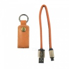 Portable Micro USB / V8 Fast Charging Cable w/ Keychain - Coffee