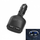 Dual USB DC 12~24V 3.4A LCD Display Car Charger - Black + White