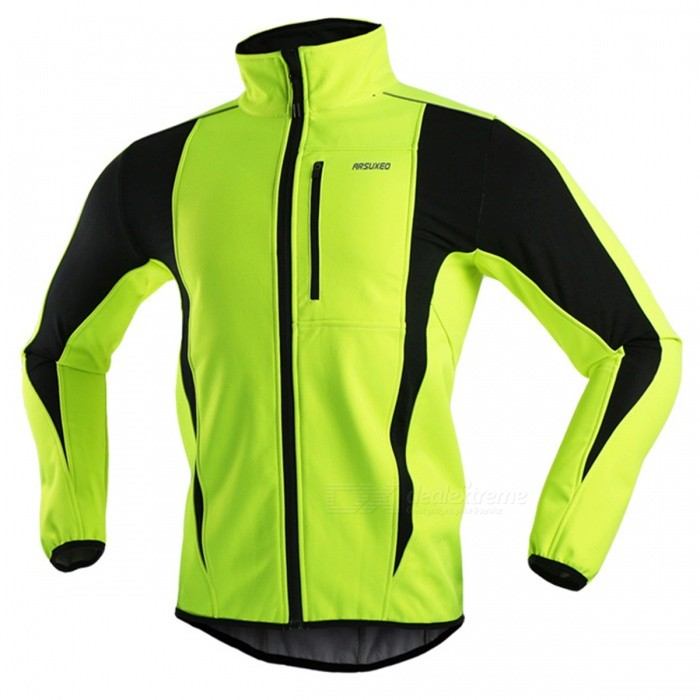 ARSUXEO Windproof Mens Long-sleeved Cycling Jacket - Light Green (L)Form  ColorFluorescent GreenSizeLQuantity1 DX.PCM.Model.AttributeModel.UnitMaterial85% Polyester + 15% SpandexGenderMensSeasonsAutumn and WinterShoulder WidthN/A DX.PCM.Model.AttributeModel.UnitChest Girth106 DX.PCM.Model.AttributeModel.UnitSleeve Length64 DX.PCM.Model.AttributeModel.UnitTotal Length60/72 DX.PCM.Model.AttributeModel.UnitWaistNo DX.PCM.Model.AttributeModel.UnitTotal LengthNo DX.PCM.Model.AttributeModel.UnitSuitable for Height165-175 DX.PCM.Model.AttributeModel.UnitBest UseCycling,Mountain Cycling,Recreational Cycling,Road Cycling,Bike commuting &amp; touringSuitable forAdultsTypeJacketsOther FeaturesWindproof, Anatomic Design, Breathable, Reflective Trim/Fluorescence, Back Pocket, Reflective Strips, Thermal / WarmPacking List1 x Jacket<br>