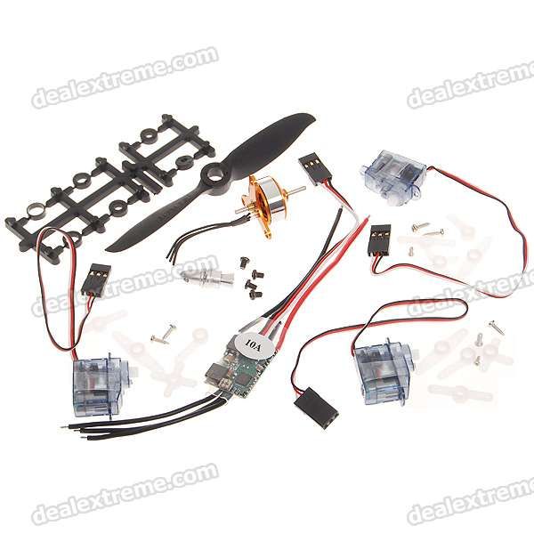 A1504/2700KV Brushless Motor + 10A BEC + 2.5g Steering Servo * 3 + 4.1 *4.1E Motor Shaft Set mystery speed controller 50a bec for brushless motors 300 450 r c helicopters