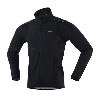 ARSUXEO Windproof Fleece Long Sleeve Men's Cycling Jacket- Black(XXXL)