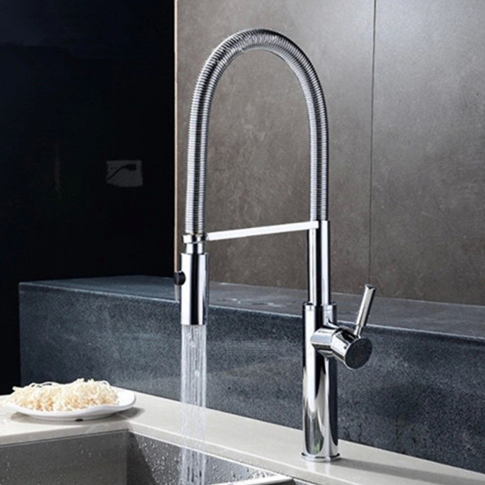 F-0849 Contemporary Fashion Chrome Brass Kitchen Sink Faucet - Silver