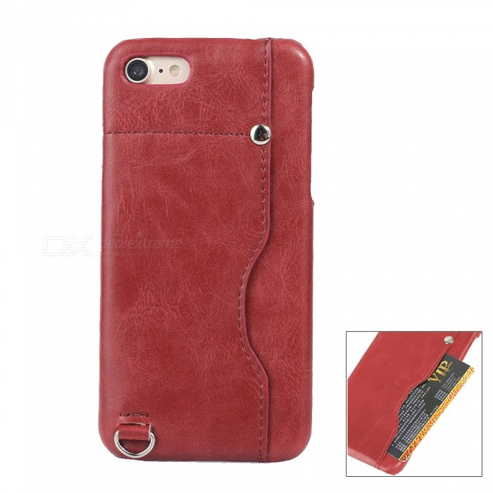 Protective Leather Back Case Cover w/ Card Slot for IPHONE 7 4.7