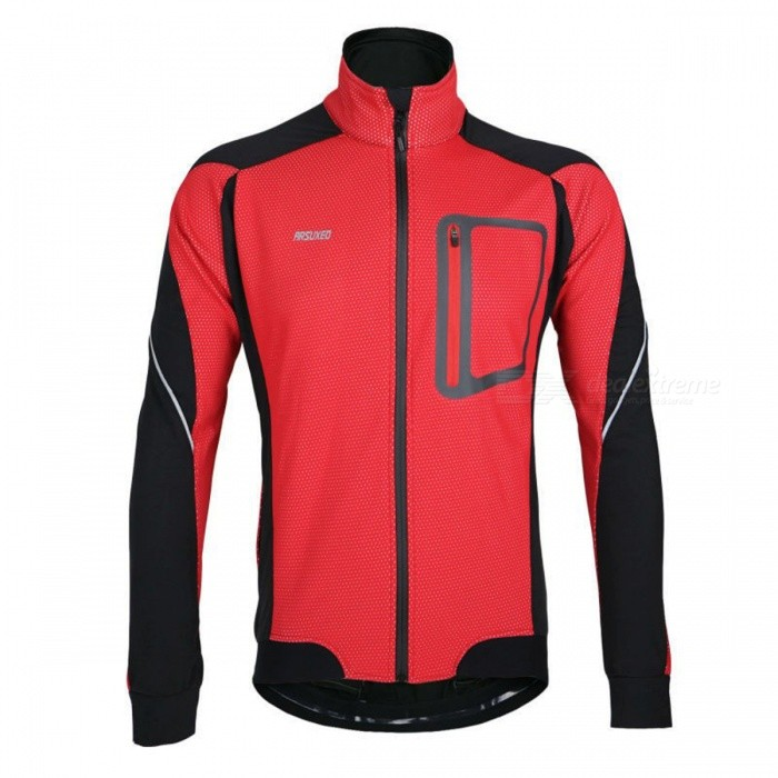 ARSUXEO 14-D Men's Long Sleeved Fleece Jacket for Cycling - Red (XL)