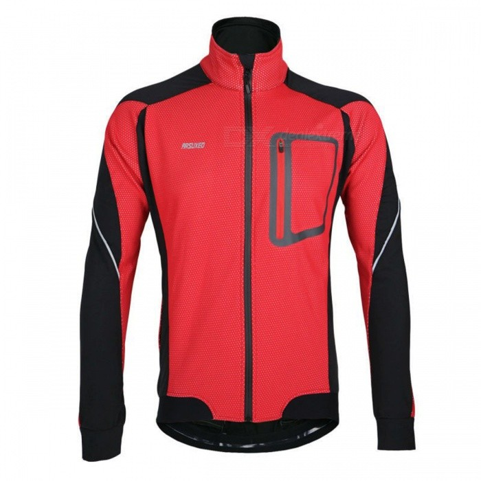 ARSUXEO 14-D Men's Long Sleeved Fleece Jacket for Cycling - Red (XXL)
