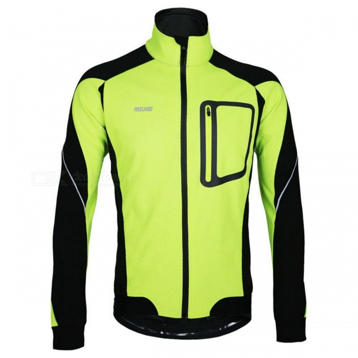 ARSUXEO 14-D Men's Long Sleeved Fleece Jacket for Cycling - Green (L)