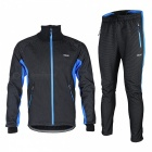 Arsuxeo Cycling Long Sleeve Men's Jacket + Pant - Black + Blue (L)