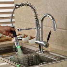 High Quality Brass LED RGB Spring Pull-out/Pull-down Kitchen Faucet