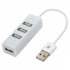 Mini Rectangle Shape USB 2.0 480Mbps Hi-Speed 4-Port Hub - White