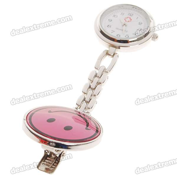 Smile Face Clip Chain Doctor Nurse Pocket Quartz Watch (1*377)