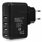 KELIMA 25W 5V/5A 4-port USB Universal Mobile Phone Charger - Black