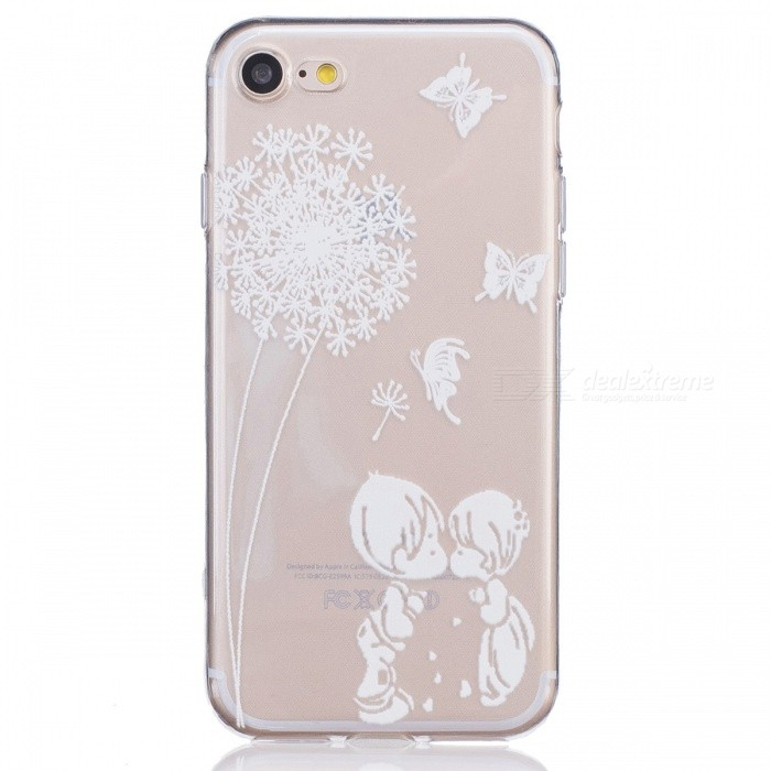 Kiss Child Pattern TPU Protective Back Case for IPHONE 7 - Transparent