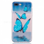 Bule Butterfly Pattern TPU Protective Case for IPHONE 7 - Transparent