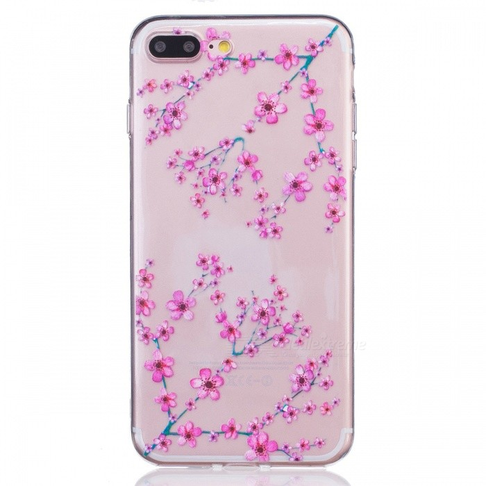Plum Pattern Clear TPU Protective Back Case for IPHONE 7 PLUS