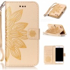 3D Flower Pattern Flip-Open Leather Wallet Case for IPHONE 7 - Golden