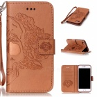 BLCR Skull Pattern Leather Wallet Case for IPHONE 7 - Brown