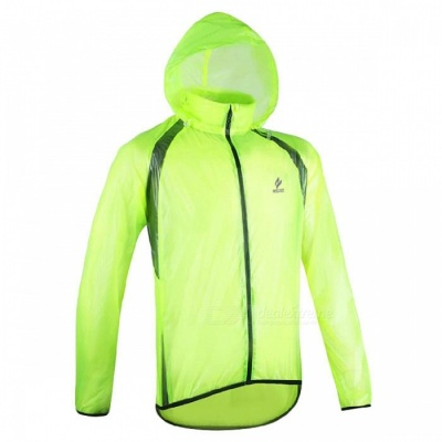 ARSUXEO Ultrathin Men's Cycling Rain Jacket - Fluorescent Green (XL)