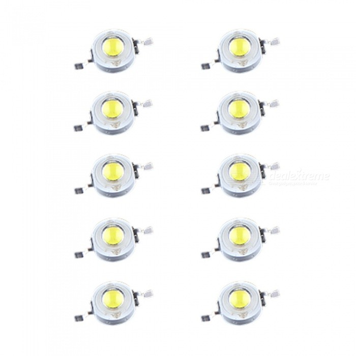 QooK 1W High Power Pure White LED Bright Light Lamp Bulb Beads (10PCS)
