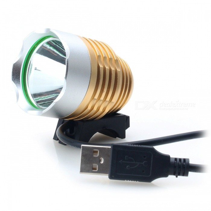 "ZHISHUNJIA USB Powered LED ""800lm\"" 3-mode blanc bicyclette luminaire-doré"