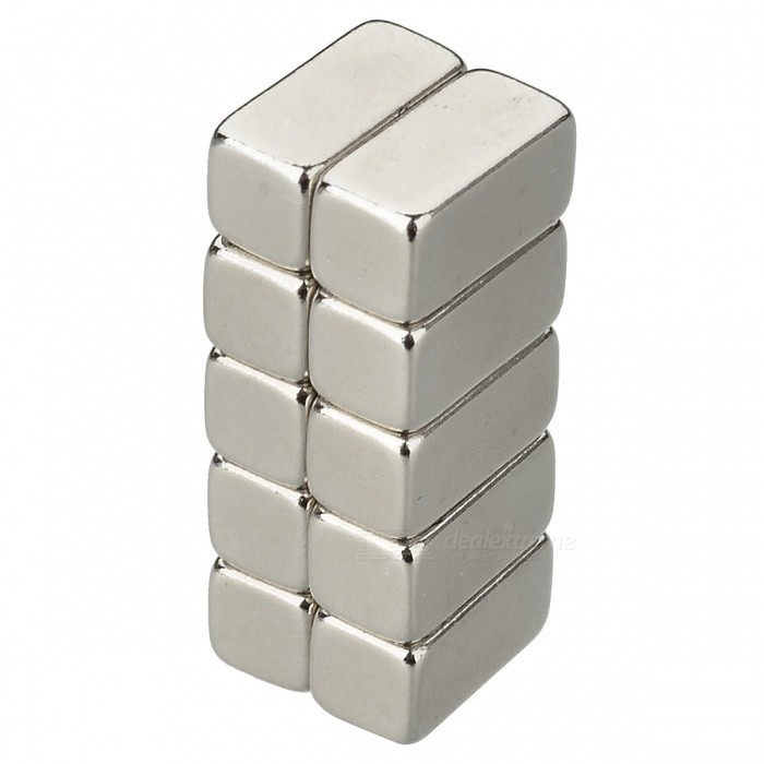 JEDX 10 * 5 * 5 mm Rectangle Shaped NdFeB magnety - stříbrná (10 ks)