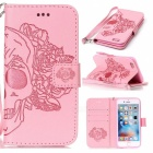 BLCR Skull Pattern Leather Wallet Case for IPHONE 6 / 6S - Pink