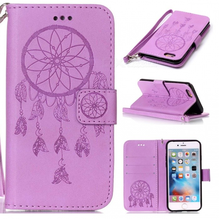 BLCR Dreamcatcher Pattern Leather Wallet Case for IPHONE 6/6S - PurpleLeather Cases<br>Form ColorPurpleQuantity1 pieceMaterialPU + TPUPacking List1 x Case1 x Strap<br>