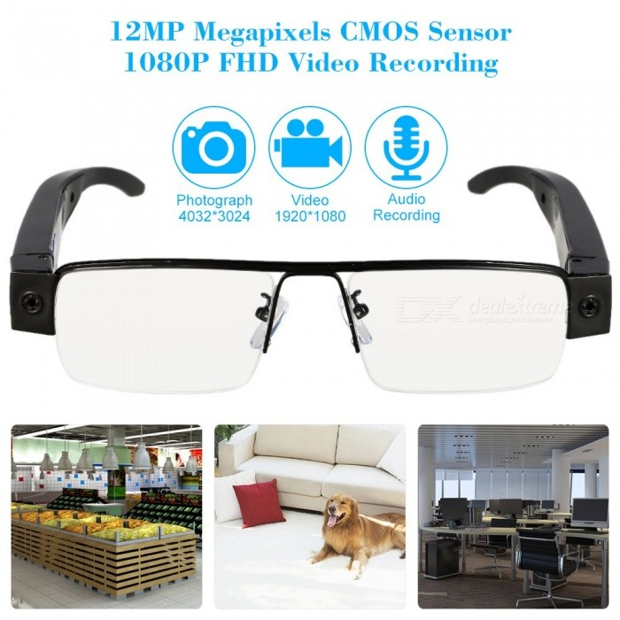 12.0MP 1080P Mini Eyewear Camera Security Surveillance CameraCCTV Cameras<br>Form ColorBlack + Transparent WhiteMaterialABSQuantity1 pieceImage SensorCMOSImage Sensor Size1/2.7 inchesPixels12.0MPPower AdapterBatteryPacking List1 x Eyewear Camera1 x USB Power/Data Cable1 x Portable Bag1 x Cleaning Cloth1 x User Manual (English)<br>